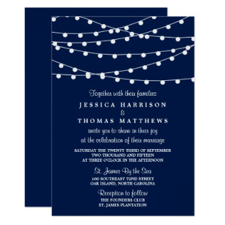 The String Lights On Navy Blue Wedding Collection Card at Zazzle