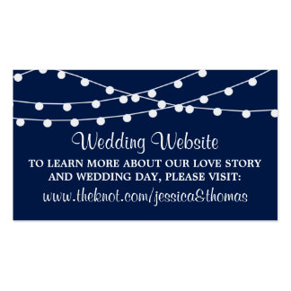 The String Lights On Navy Blue Wedding Collection Double-Sided Standard Business Cards (Pack Of 100)