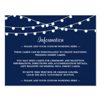The String Lights On Navy Blue Wedding Collection 4.25x5.5 Paper Invitation Card