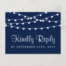 The String Lights On Navy Blue Wedding Collection Invitation Postcard