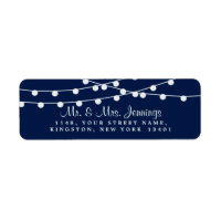 The String Lights On Navy Blue Wedding Collection Label