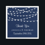 """The String Lights On Navy Blue Wedding Collection Paper Napkin<br><div class=""""desc"""">Simple yet elegant, the string lights on navy blue wedding collection is a stunning design featuring lovely white hanging string lights on a navy blue background, which is perfect for any modern wedding celebration. These napkins can be personalized for your special occasion and would make the perfect item for your...</div>"""
