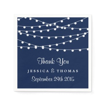 invitation_republic The String Lights On Navy Blue Wedding Collection Paper Napkin
