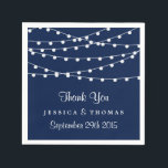 "The String Lights On Navy Blue Wedding Collection Paper Napkins<br><div class=""desc"">Simple yet elegant, the string lights on navy blue wedding collection is a stunning design featuring lovely white hanging string lights on a navy blue background, which is perfect for any modern wedding celebration. These napkins can be personalized for your special occasion and would make the perfect item for your...</div>"