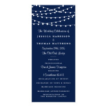 The String Lights On Navy Blue Wedding Collection Rack Card