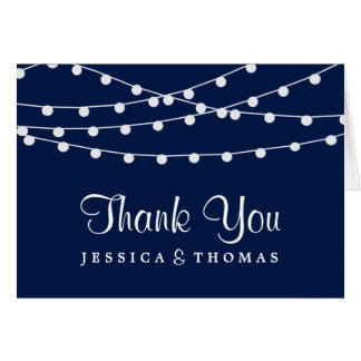 The String Lights On Navy Blue Wedding Collection Stationery Note Card