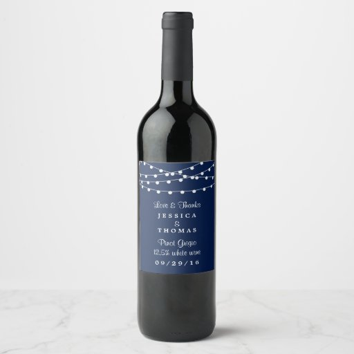 The String Lights On Navy Blue Wedding Collection Wine Label