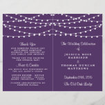 """The String Lights On Purple Wedding Collection<br><div class=""""desc"""">Simple yet elegant, the string lights on purple wedding collection is a stunning design featuring lovely white hanging string lights on a purple background, which is perfect for any modern wedding celebration. These programs can be personalized for your special occasion and would make the perfect order of service for your...</div>"""