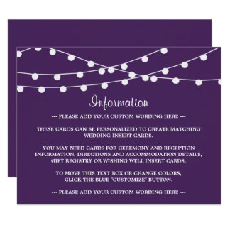 The String Lights On Purple Wedding Collection Card