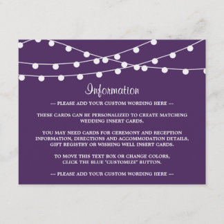 The String Lights On Purple Wedding Collection Enclosure Card