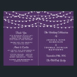 """The String Lights On Purple Wedding Collection Flyer<br><div class=""""desc"""">Simple yet elegant, the string lights on purple wedding collection is a stunning design featuring lovely white hanging string lights on a purple background, which is perfect for any modern wedding celebration. These programs can be personalized for your special occasion and would make the perfect order of service for your...</div>"""