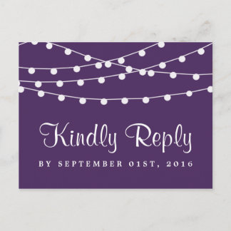 The String Lights On Purple Wedding Collection Invitation Postcard