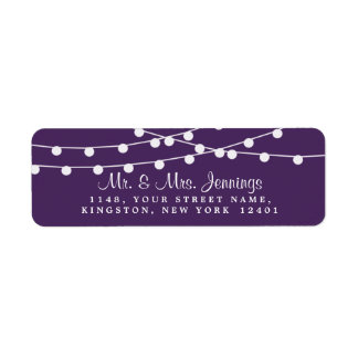 The String Lights On Purple Wedding Collection Label
