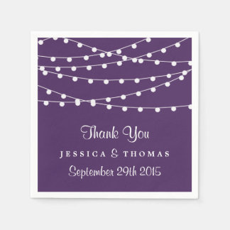 The String Lights On Purple Wedding Collection Napkin