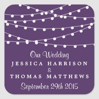 The String Lights On Purple Wedding Collection Square Sticker