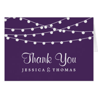 The String Lights On Purple Wedding Collection Stationery Note Card