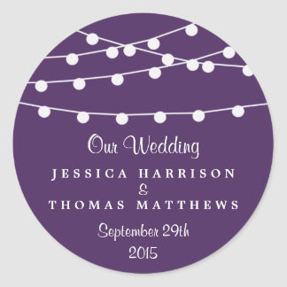 The String Lights On Purple Wedding Collection Classic Round Sticker