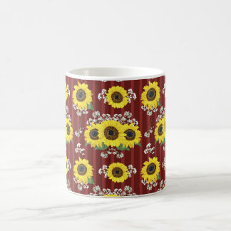 The Striped Red Fresh Sunflower Seamless Pattern Coffee Mug