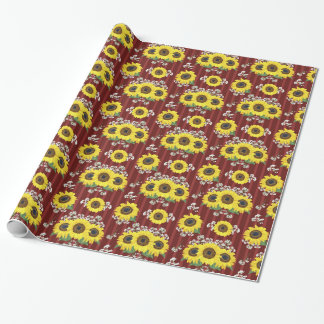 The Striped Red Fresh Sunflower Seamless Pattern Wrapping Paper