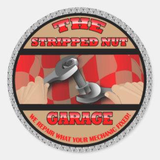 The Stripped Nut Garage Apparel Classic Round Sticker