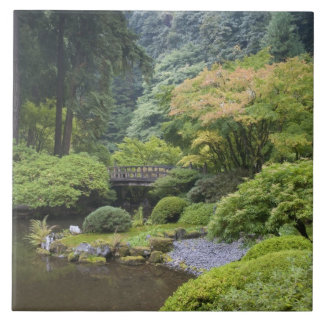 The Strolling Pond with Moon Bridge Large Square Tile