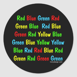 The Stroop Test Classic Round Sticker