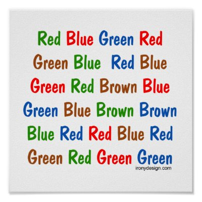 """the stroop effect and relation to selective attention In the stroop test (stroop, 1935) subjects are presented with lists of colour-words which are printed in different that the crucial variable is the relative speed of naming the various attributes of the stimuli thus, under suggested was that """" interference with selective attention or response might arise only when the irrelevant."""