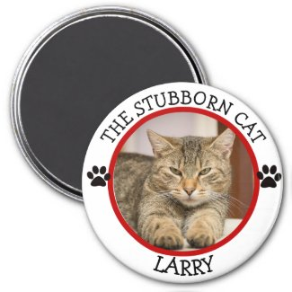 THE STUBBORN CAT: Humorous Pawprints Photo Button