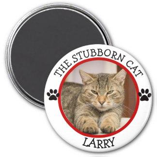 THE STUBBORN CAT: Humorous  Pawprints Photo Button Magnet