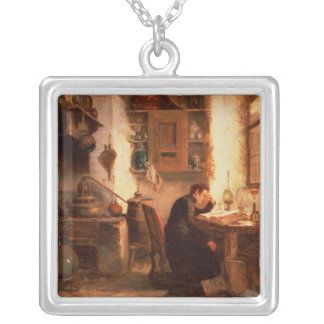 The student of chemistry and pharmacy silver plated necklace