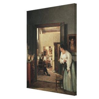 The Studio of Ingres in Rome, 1818 Canvas Print