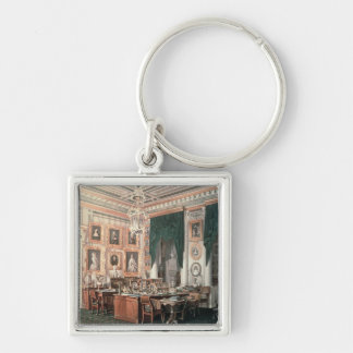 The Study of Alexander III  at Gatchina Palace Silver-Colored Square Keychain
