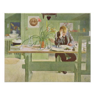 The Study Room, 1908 by Carl Larsson Poster