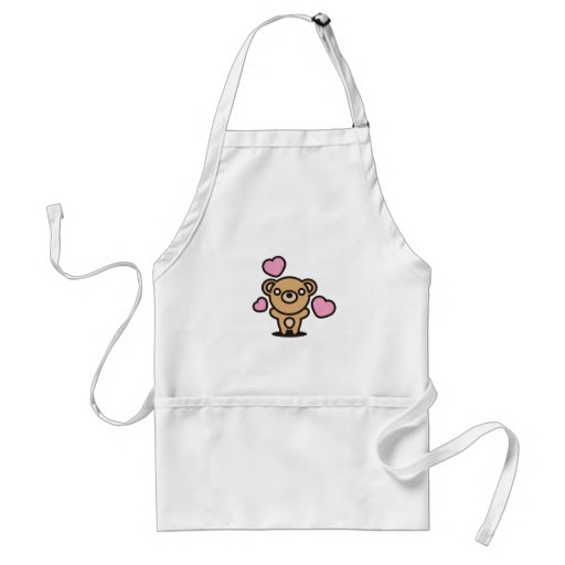 The stuffed toy of the bear adult apron