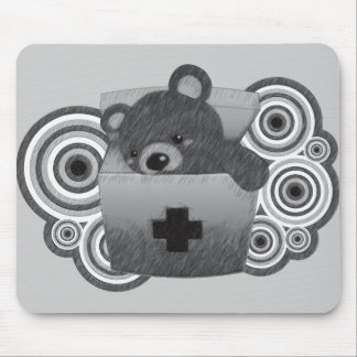 The stuffed toy of the bear mouse pad