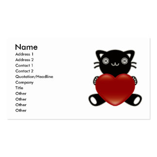 The stuffed toy of the cat business card