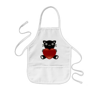 The stuffed toy of the cat kids' apron