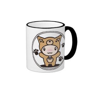 The stuffed toy of the dog ringer mug