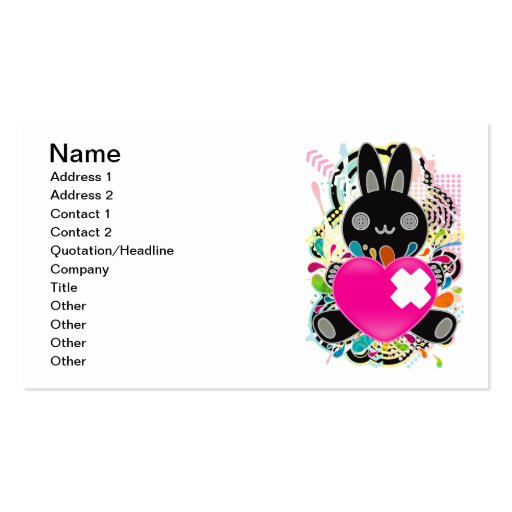 The stuffed toy of the rabbit Double-Sided standard business cards (Pack of 100)