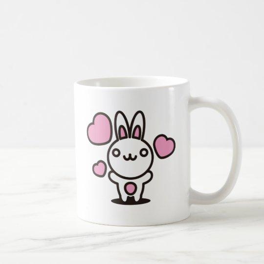 The stuffed toy of the rabbit coffee mug