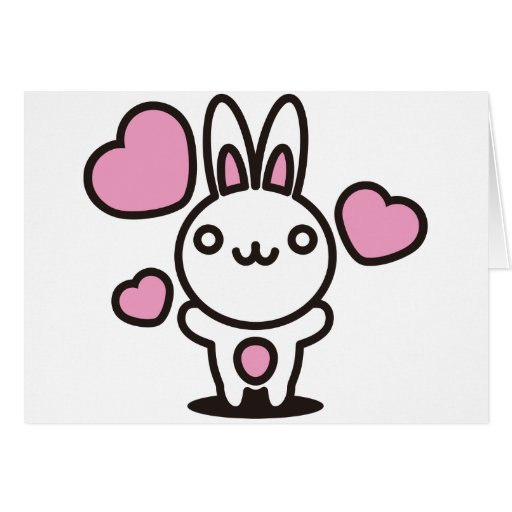 The stuffed toy of the rabbit greeting cards
