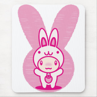 The stuffed toy of the rabbit mouse pad