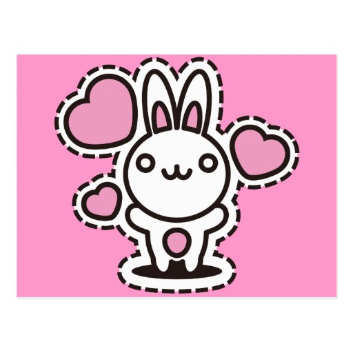 The stuffed toy of the rabbit postcard