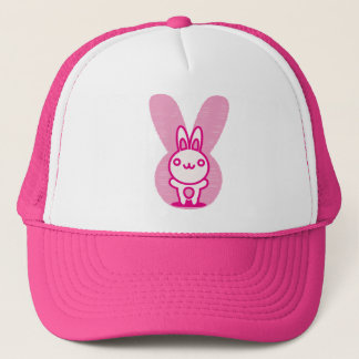 The stuffed toy of the rabbit trucker hat