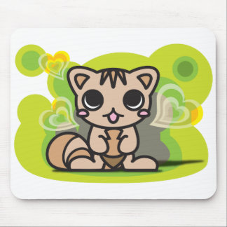 The stuffed toy of the squirrel mouse pad