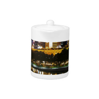 The Stunning Yarra And Melbourne Skyline at Night Teapot