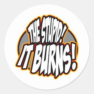 The Stupid, It Burns! Oval Fire Classic Round Sticker