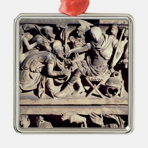 The submission of a barbarian to a Roman Christmas Ornaments