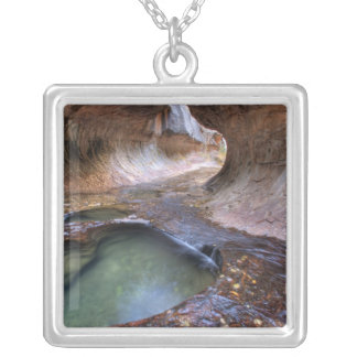 The Subway along the Left Fork of the Virgin 2 Square Pendant Necklace
