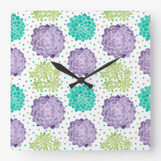 The Succulents Pattern Square Wall Clock